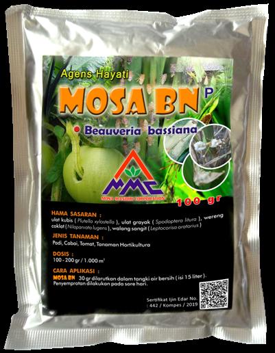 Agens Hayati MOSA BN merupakan pestisida organik berbentuk powder dengan bahan akif beauveria bassiana dan noumeria rileyi. MOSA BN menjadi merk baru dari TOP BN yang sudah memiliki sertikat ijin edar dari komisi pestisida.